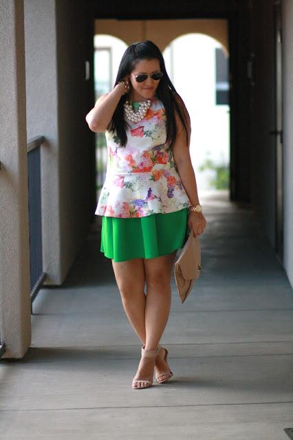 floral peplum, maternity, green skirt, windsor skirt, circle skirt, ray ban, zara heels