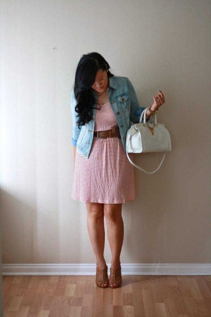 simplyxclassic, jcrew, stripes, candy stripes, ysl , ysl cabas, ysl handbag, gap denim, gap jacket, aldo shoes, heels, southern california blogger, blogger, fashion blogger, style blogger, ootd, outfit, summe
