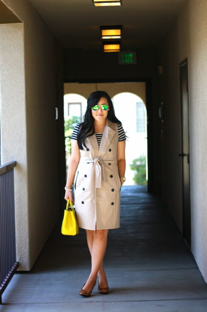 simplyxclassic, fendi2jours, ray ban, ann taylor sleeveless trench, franco sarto leopard pumps, fendi 2 jours, loft stripe dress, blogger, fashion, style, orange county, southern california