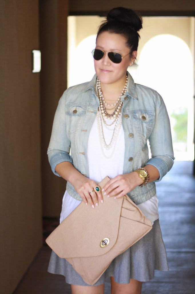 simplyxclassic, ootd, ann taylor necklace, ray ban, gap denim jacket, diy metallic cap heels, nordstrom skirt, james perse white top