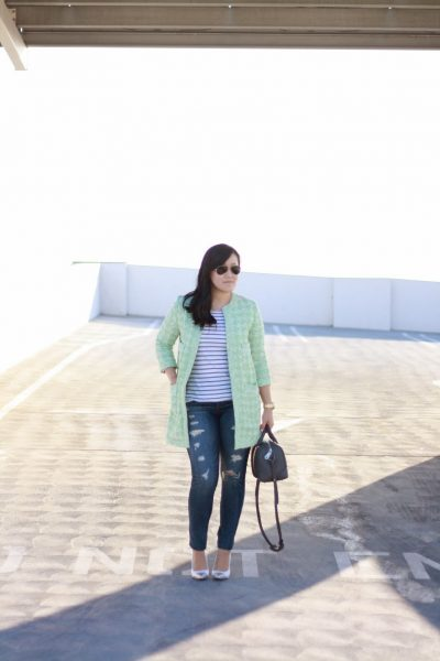 OOTD: Mint Tweed and Grey Stripes Part 2