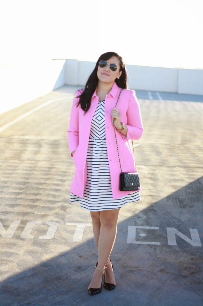 simplyxclassic, blogger, anthropologie dress, zara pink coat, chanel wallet on chain, zara heels, raybans, michael kors watch, style, ootd