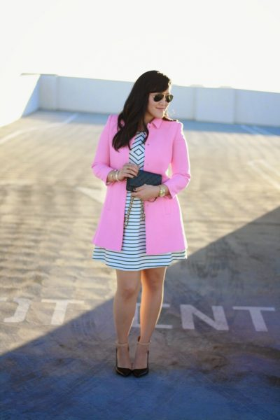 OOTD: Pink Coat, Black and White Dress