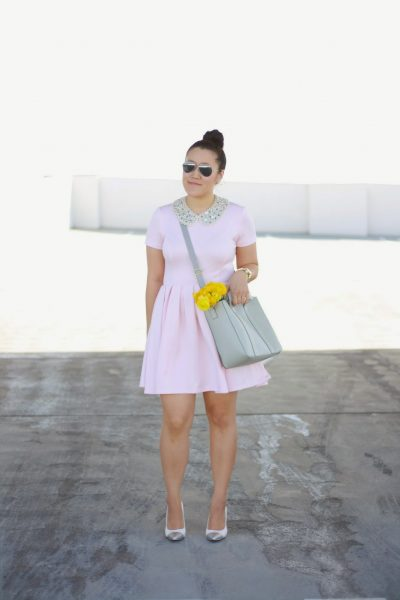 STYLE: Soft Pink and Grey with Jeweled Collar