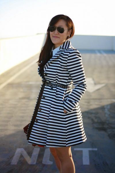 OOTD: Striped Trench on Black