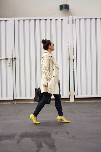 STYLE: Trench, Stripes and Neon Heels