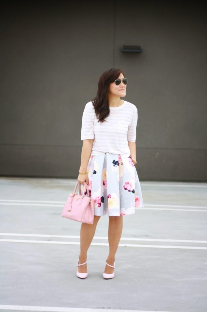 simplyxclassic, piperlime, floral skirt, pink prada bag, gap striped shirt, orange county blogger, fashion blogger, stripes and florals