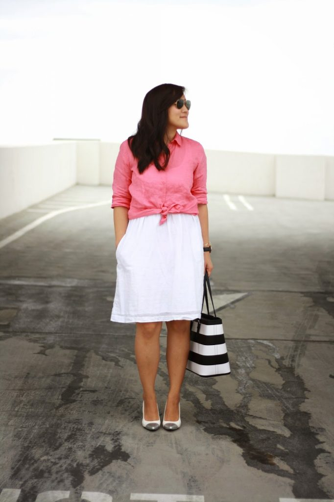simplyxclassic, michael kors, jet set tote, striped tote, uniqlo linen top, blogger, orange county blogger, fashion blogger,