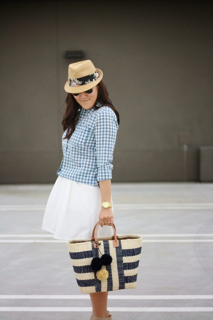 simplyxclassic, mar y sol, gingham shirt, white skirt, nine west sandals, picnic bag, beach bag