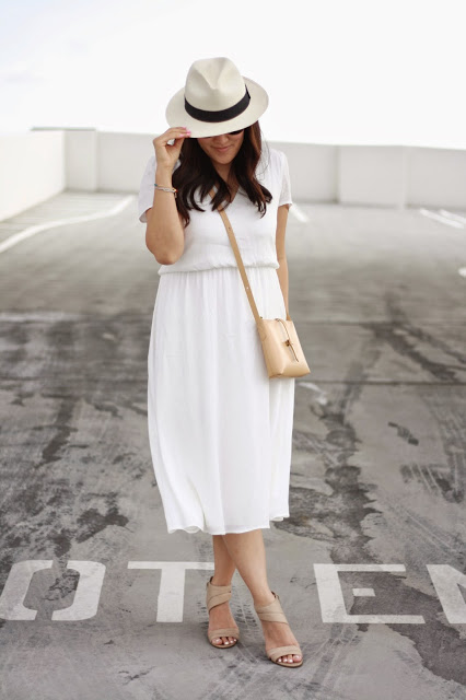 simplyxclassic, orange county, blogger, fashion blogger, mommy blogger, jcrew bag, nordstrom dress, ootd, nine west heels, panama hat, little white dress, LWD