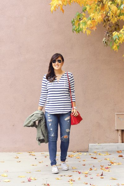 Style: Striped Lace Up Top