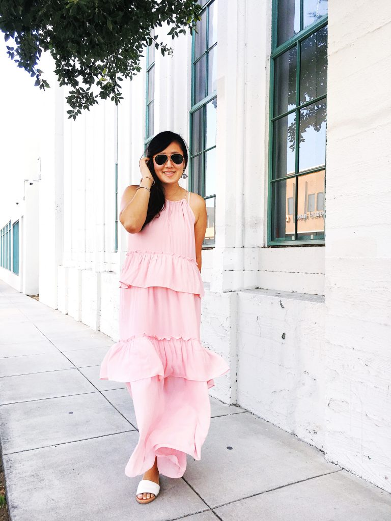 shop the sale, loft, love loft, blogger, lifestyle, orange county, ruffle dress, maxi dress, beautiful, what to wear to a wedding,  summer, simplyxclassic