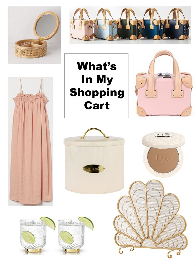 what's in my shopping cart, pink mini luggage bag, pink dress, white and gold breadbox, peacock fire screen, rattan jewelry box